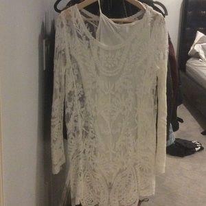 M lace dress w slip